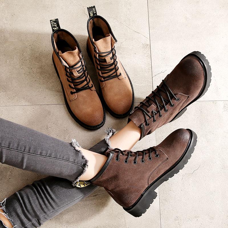 复古真皮马丁靴女英伦风2017新款春秋单靴平底粗跟短筒系带短靴女