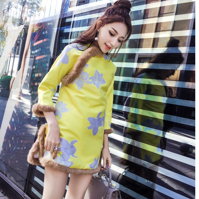 新款冬季女装2018中国风改良旗袍裙兔毛A字裙拜年