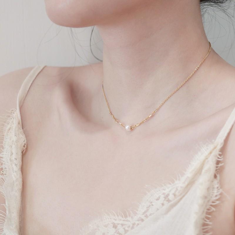珍珠项链女短款锁骨链ins网红冷淡风气质百搭简约大方14k金颈链潮