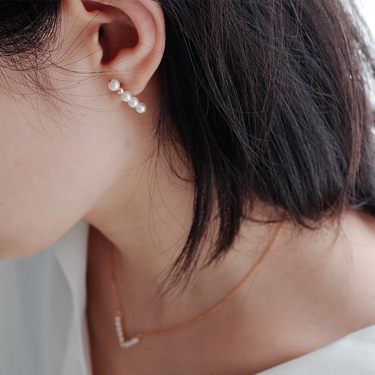LLab 美国14K包金不对称耳钉耳环 平衡木天然珍珠耳环 一字排珠ch