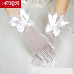 Purple Fairy bow Lace Gloves Bridal Gloves bridal white wedding short gloves