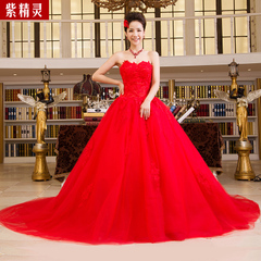 Purple Fairy new style fashion wedding dress with purple lace Vera Wang long tailed red can be customized