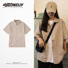 21韩国复古纯色大口袋工装短袖bo12衫短外ne女式半袖体恤