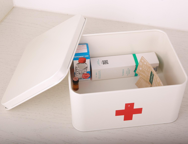 小医药家庭装急救药品收纳盒家用老人儿童药箱医疗�a箱大容量