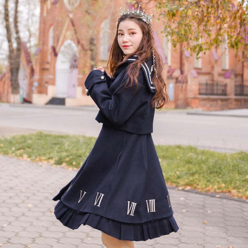 原创设计森女部落罗马时钟显瘦学院毛呢连衣裙2017冬装新款森女系