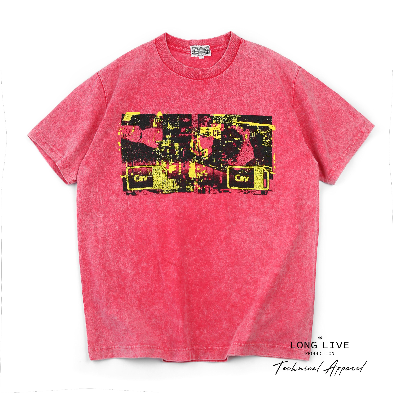现货 Cav Empt C.E BLEACHED Cav E T 粉色重水洗短袖T恤 19SS