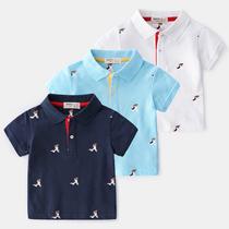 男童翻领T恤宝宝短袖polo衫儿童纯棉半袖上衣夏季童装满印中童潮