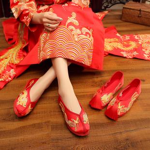 秀禾鞋婚鞋老北京新娘鞋手工绣花婚鞋红色上轿千层底中式平底布鞋图片