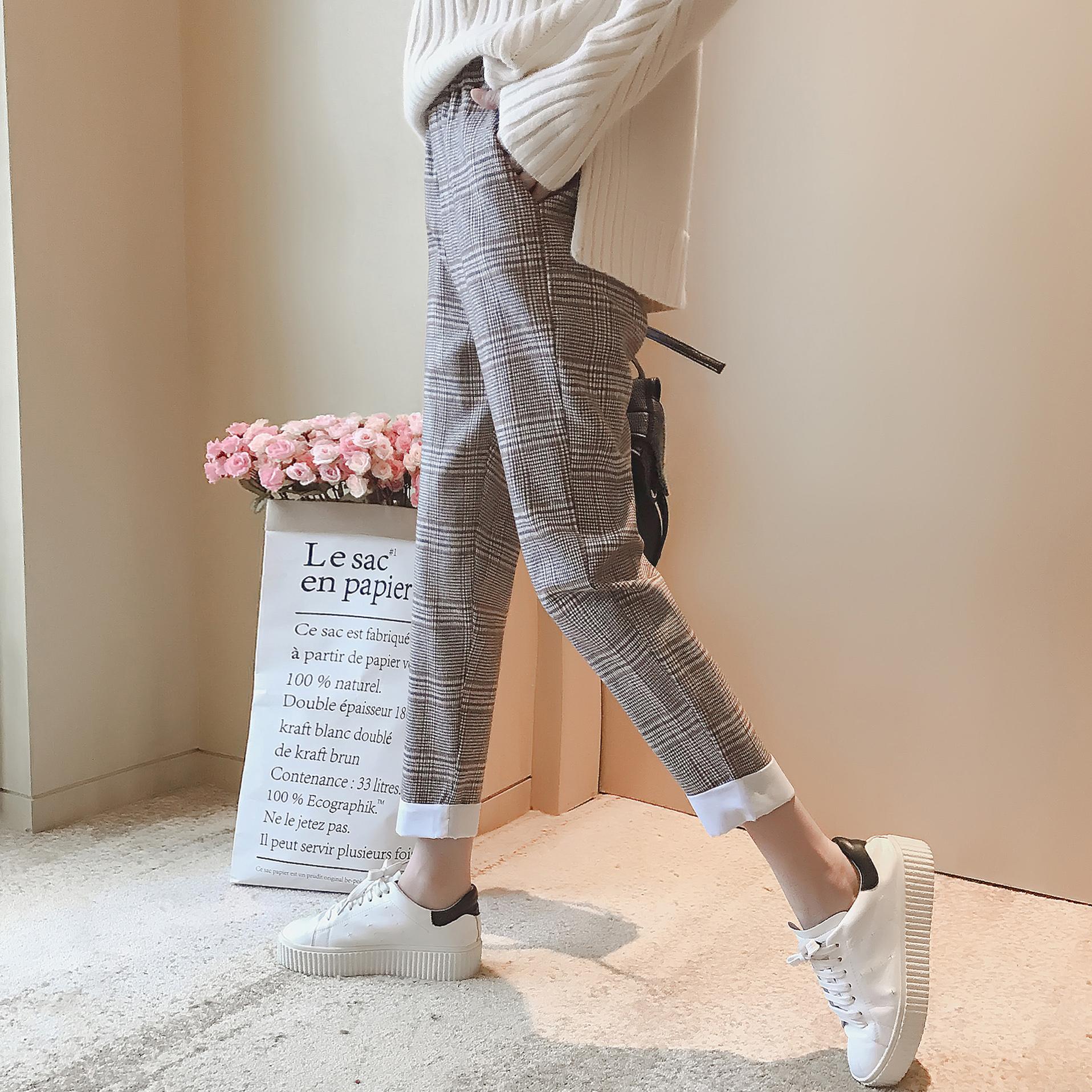 A4439-2017秋新款女装韩版高腰格子条纹翻边宽松显瘦休闲裤 1009