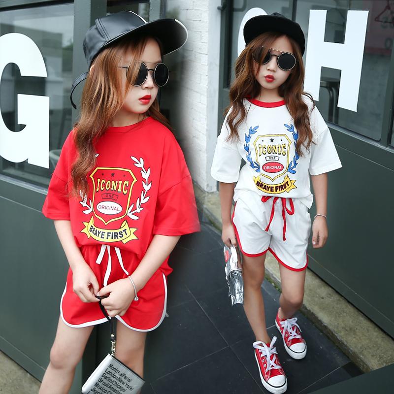 女童夏装套装2017韩版中大童短袖T恤短裤潮夏季儿童休闲两件套
