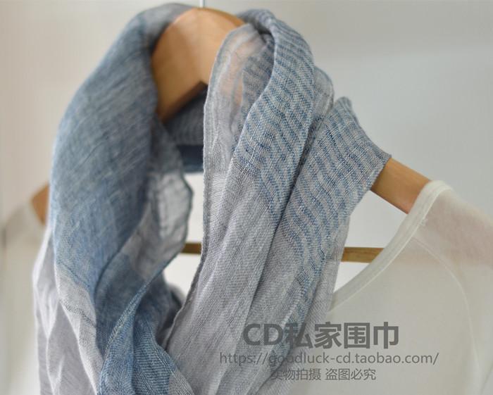蓝灰 纯麻亚麻条纹拼色围巾披肩 男女文艺森系春夏丝巾空调披肩