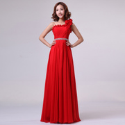2015 new wedding red long dresses one-shoulder flounces toast costume bride toast clothing new spring dresses-