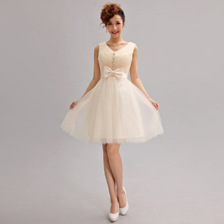 2015 new Korean deep v-neck short dress bridesmaid dress costume party short skirt small shoulders dress