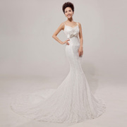 Honey marriage wedding lace fishtail gown trailing the new 2015 Korean slim strap bandage tail-