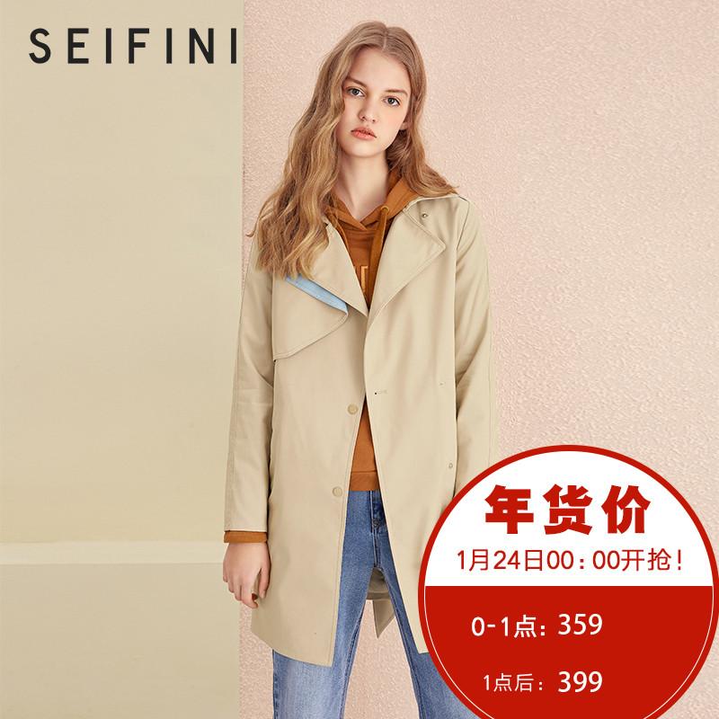 诗凡黎2018春装新款韩版学生修身风衣外套薄外套秋装中长款风衣女