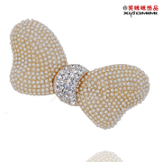 Package mail smiling Korean rhinestones jewelry Pearl bow hair clip hairpin rhinestone alloy top clip headgear