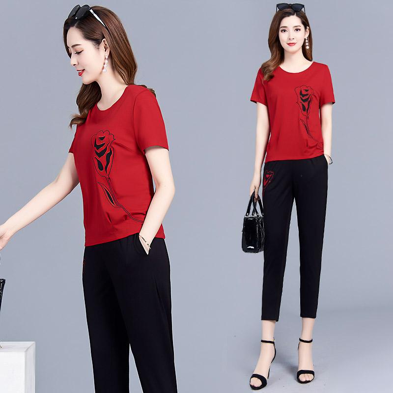 两件套洋气减龄2019新款夏季韩版显瘦T恤印花时尚九分小脚裤套装