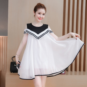 Maternity summer 2018 new chiffon dress long paragraph fat MM pregnant women a word skirt loose short-sleeved summer dre