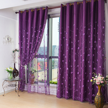 欧式紫色遮光布窗帘高档绣花hf10纱帘卧jw清仓成品定制田园