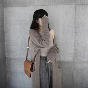 欧美范秋冬新款羊绒大衣女中长款宽松毛衣外套针织开衫加厚外搭图片