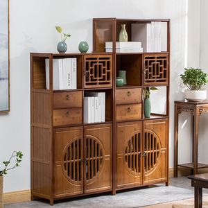 Nanzhu bookcase with door with drawer bookcase simple modern small bookcase storage solid wood space children bookcase