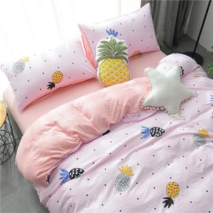 网红裸睡水洗棉四件套床单被套1.8m床上用品单人床学生宿舍三件套