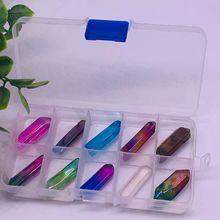 天然水晶电镀彩色 红蓝黄紫粉晶簇an13摆件原au教学标本盒