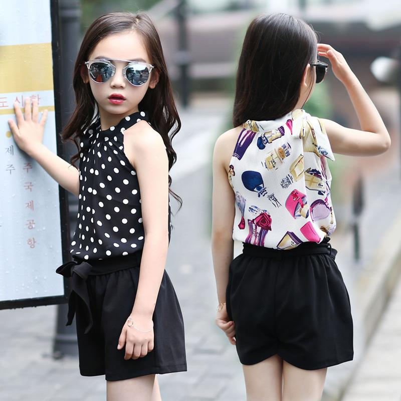 童装女童短袖套装夏装2018新款韩版儿童无袖小吊带短裤两件套潮