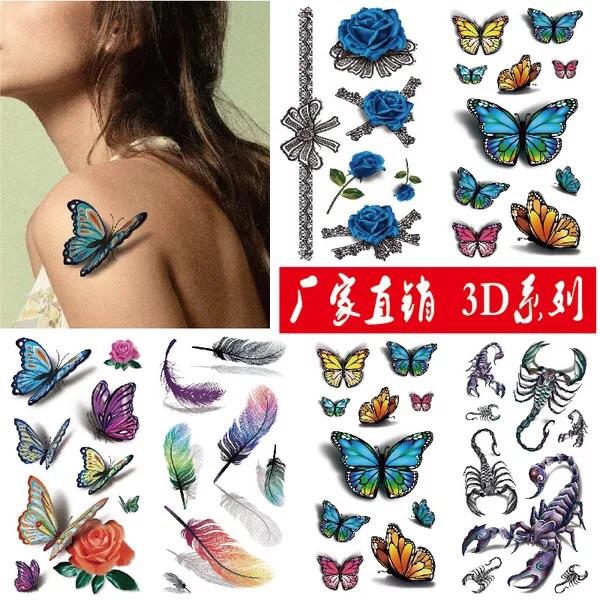 3D纹身贴防水仿真立体彩色持久身体彩绘水果花朵鱼蝎子假刺青贴纸