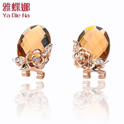 Ya-na Korean cute fashion female full rhinestone chic rose diamond earrings earring earring mm46