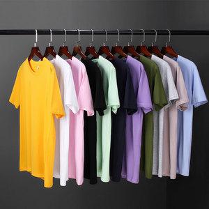 Summer short-sleeved t-shirt men's cotton round neck solid color half-sleeved white Korean trend base shirt men's printed shirt