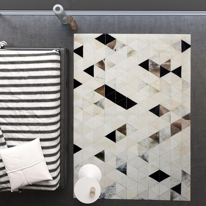 地毯客厅茶几垫北欧风灰色几何后现代手工牛皮ins风盐系轻奢地毯