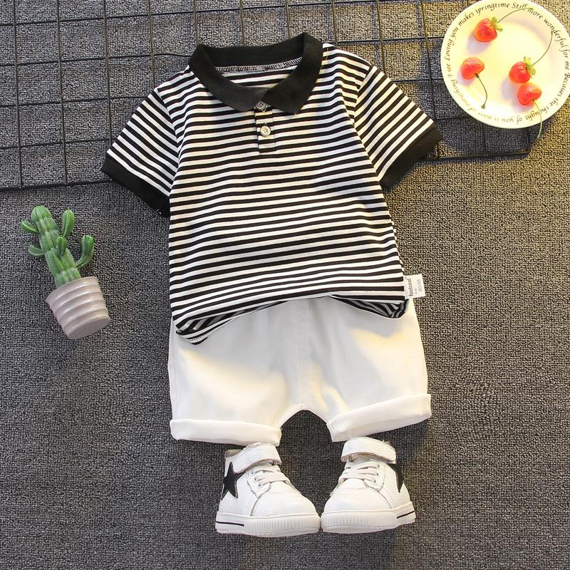 男童夏装套装2020夏季新款小童男宝宝时尚短袖条纹polo衫两件套潮