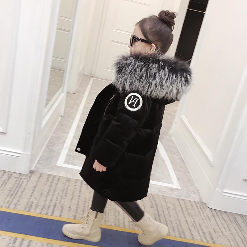 女童棉衣2017新款棉袄中长款儿童外套童装女洋气冬装羽绒棉服加厚