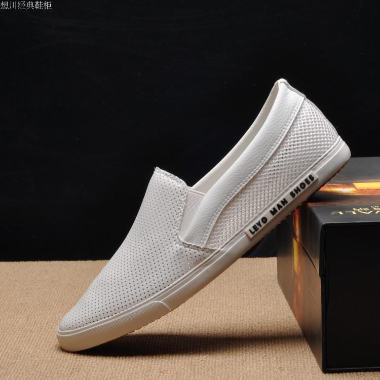 夏季低帮休闲鞋皮面透气韩版网鞋男士一脚蹬懒人鞋潮流镂空男鞋