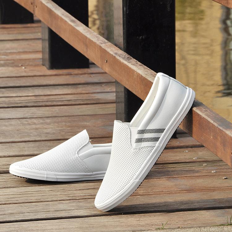 新品小白鞋男士休闲鞋夏季镂空韩版潮鞋百搭板鞋男鞋一脚蹬懒人鞋