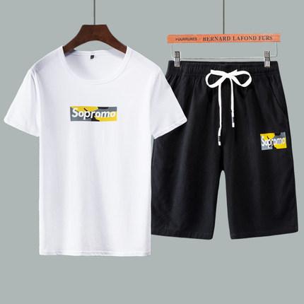夏季休闲运动服社会套装男纯棉网红帅气学生韩版潮流短袖跑步两件