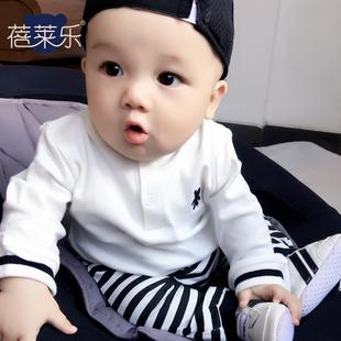 男婴儿T恤3个月春夏装新生儿女宝宝圆领套头潮款长袖男童