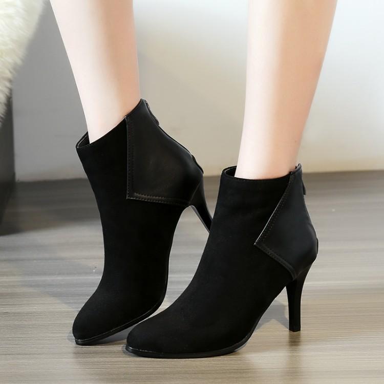 磨砂尖头鞋细跟高跟短靴职业工作靴大码靴子小码女靴 40 42 AFL
