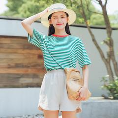 实拍夏季新款复古清新领口撞色新款条纹短袖T恤女