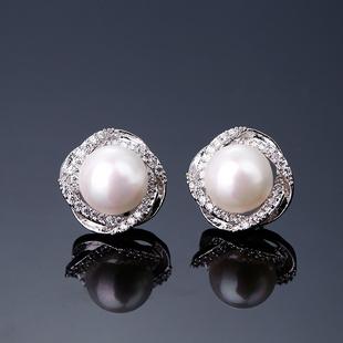 珍珠耳钉 925纯银镶钻耳环女日韩国时尚气质简约个性防过敏耳饰品图片