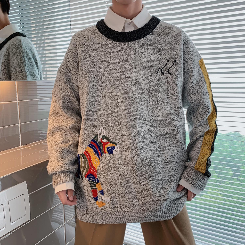 2019冬港风男宽松毛衣chic秋冬男士刺绣针织衫 S219-P75