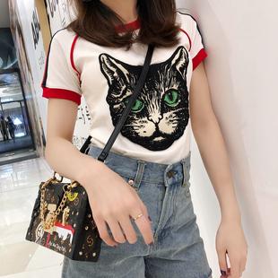 欧美风T恤女2018新款夏装修身猫头条纹短袖体恤白色纯棉打底上衣