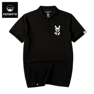 KERWATS tide brand large size men's clothing fat guy puppy corsage large reverse collar loose short sleeve fat cotton polo shirt