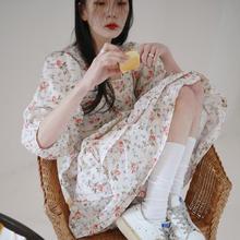 韩国ins复古sl4园碎花方vn腰系带泡泡袖下摆荷叶边连衣裙女