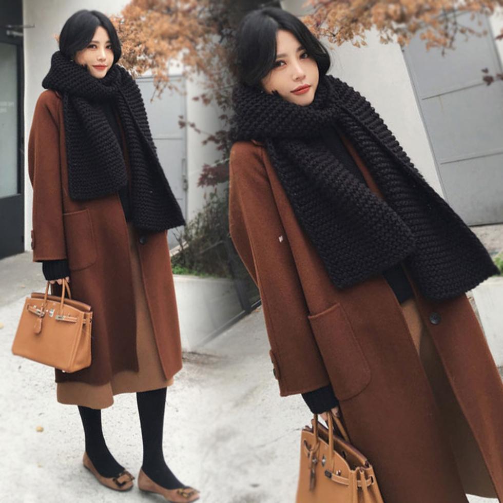 2017秋冬季新款韩版过膝毛呢外套女中长款加厚原宿风呢子大衣宽松