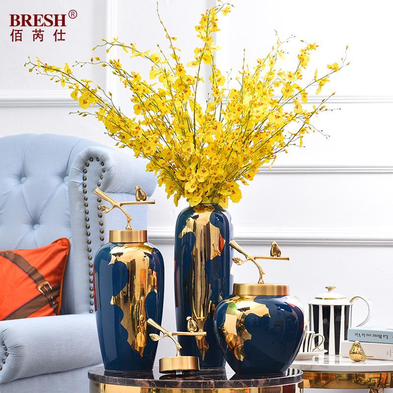 轻奢现代陶瓷花瓶纯铜盖摆件新中式客厅插花景德镇陶瓷大花瓶家居