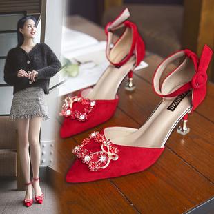 婚鞋2020年新款夏季红秀禾中式结婚新娘鞋猫跟尖头一字带高跟凉鞋