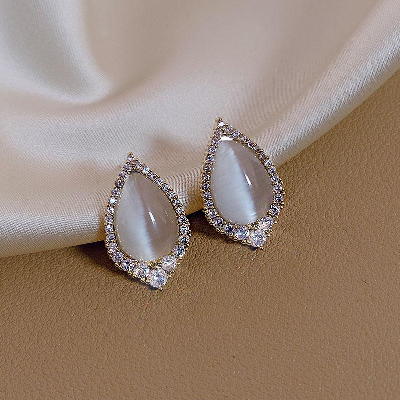 气质猫眼石简约冷淡风微镶保色耳钉2020年新款潮时尚耳环设计感