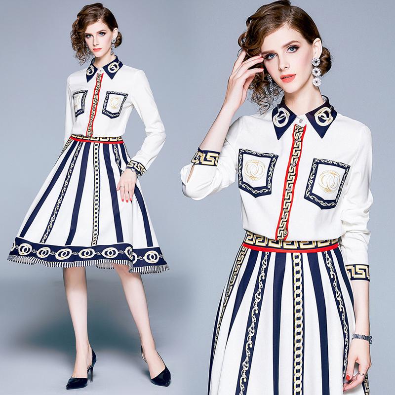 实拍现货9189 新款秋装印花衬衫拼接长袖+收腰显瘦条纹时尚套装裙 -